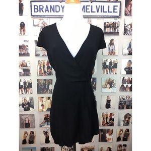 Brandy melville black v neck wrap romper